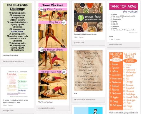 Pinterest Health & Fitness Board